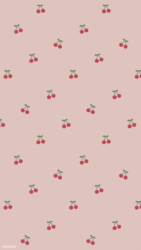 Download premium illustration of Red hand drawn cherry pattern on pink