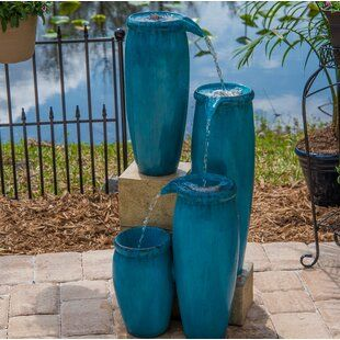 Resin Fiberglass Multi Pots Fountain Joss Main In 2020 Water Fountain Fountains Outdoor Solar Fountain