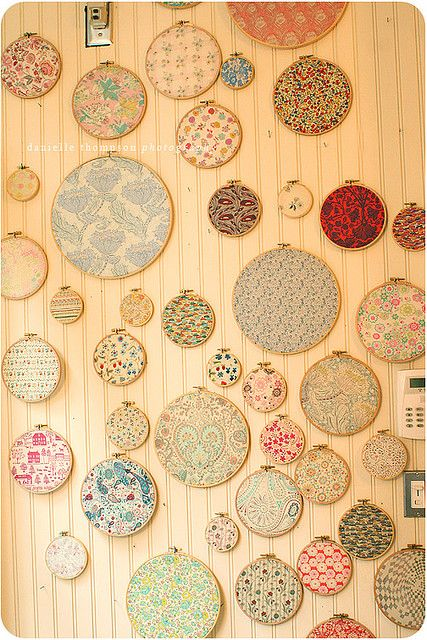 The infamous Liberty of London Fabric Embroidery Hoop wall at Purl Patchwork, NYC. :-)