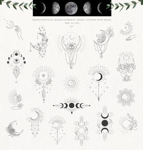 by Designwork on Here is a new trendy big collection in line art with over, than 215 unique Hand Drawn Floral Design Elements and ready designs with they and Mystic Logo, Line Art Design, Floral Logo, Tattoo Illustration, Moon Design, Crystal Wedding, Tattoo Inspiration, Wedding Designs, Small Tattoos