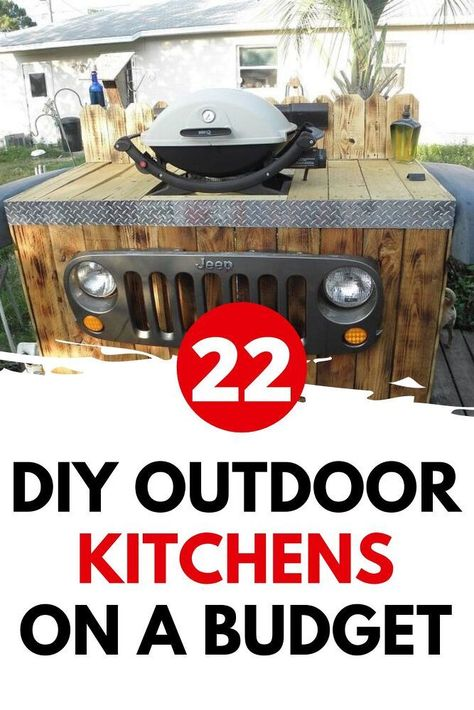 Learn how to build an outdoor kitchen on a budget. Easy outdoor upgrade with these inexpensive outdoor kitchen ideas. 22 DIY outdoor kitchens for your small backyard or big yard.