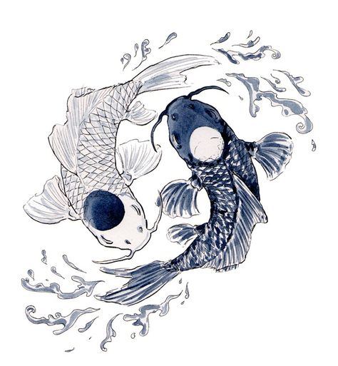 the yin and the yang Yin Yang Tattoos, Pisces Tattoos, Cute Drawings, Tattoo Drawings, Drawing Sketches, Koi Art, Fish Art, Japanese Tattoo Art, Japanese Art