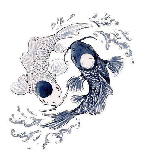the yin and the yang Cute Tattoos, Body Art Tattoos, Tattoo Drawings, Art Drawings, Yin Yang Tattoos, Pisces Tattoos, Japanese Artwork, Japanese Tattoo Art, Koi Art