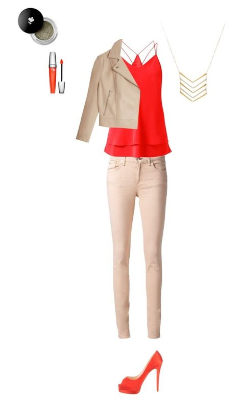 """""""Charlotte No. 4"""" by charlihorse ❤ liked on Polyvore featuring rag & bone/JEAN, Mimi & Lu, Christian Louboutin, Lancôme, T By Alexander Wang, orange, sophisticated and bright"""