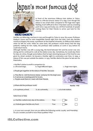 Reading comprehension activity based on the most famous dog from Japan