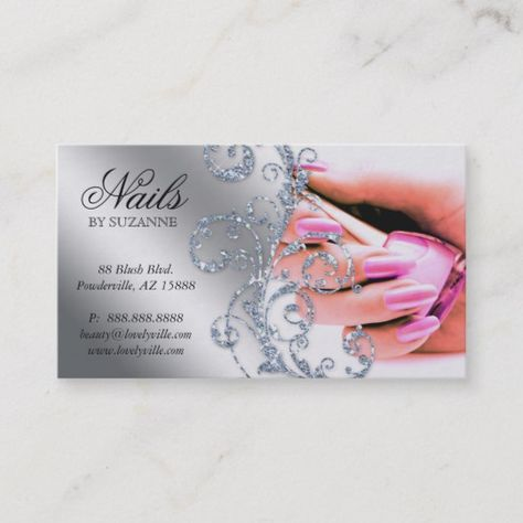 Shop 311 Nail Salon Business Card Glitter Pink Silver created by texas_star.
