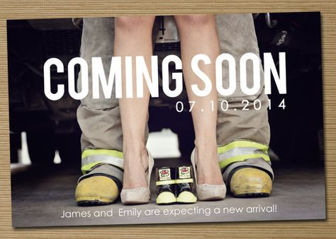 fireman pregnancy announcement, adorable! @Katie Hrubec Schmeltzer Goehring can you please do this when you and Tyler make babies??