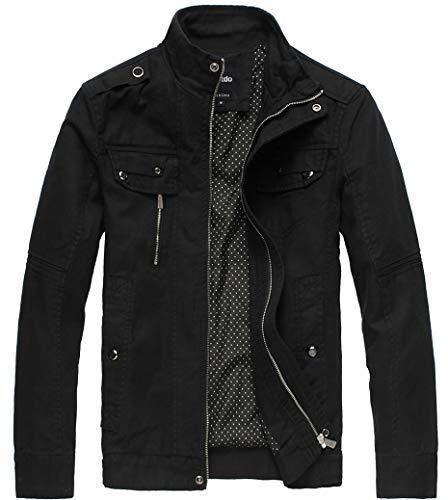 Wantdo Men's Cotton Stand Collar Lightweight Front Zip Jacket - Black / Large