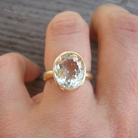 Gold Aquamarine Ring Yellow Gold Oval Stone by onegarnetgirl