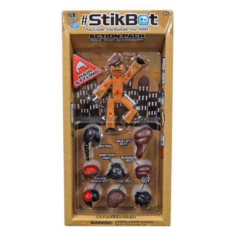 StikBot Action Pack Series 1 Hair Styling Orange Hair Kid Game Creative Free App