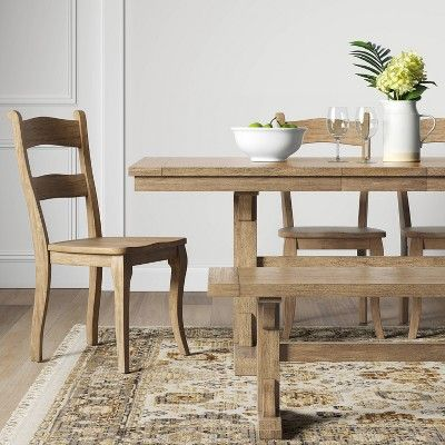 Set Of 2 Cloverhill Farmhouse Dining Chair Natural Threshold