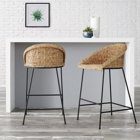 StyleWell StyleWell Black Metal Bar Stool with Back and Natural Seat in. H) - The Home Depot Seagrass Bar Stools, Woven Bar Stools, Diy Bar Stools, Rattan Stool, Counter Stools With Backs, Black Bar Stools, Stools For Kitchen Island, Metal Bar Stools, Banquettes
