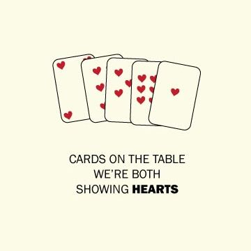 Cards On The Table Were Both Showing Hearts Modern Coffee Tables