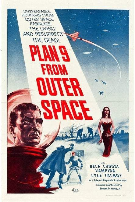 Plan 9 from Outer Space (1958) Movie Poster / also has the distinction of being the last movie horror star Bela Lugosi ever made - Canvas 24 x 36