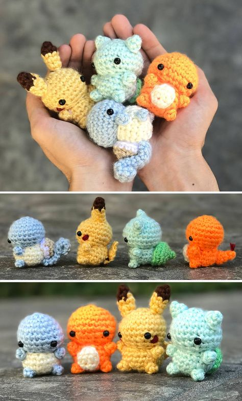 Tiny Pokemon Original Starter Beanies Tiny Pokemon Original Starter B. - Tiny Pokemon Original S Crochet Kawaii, Crochet Pokemon, Cute Crochet, Crochet Crafts, Crochet Dolls, Yarn Crafts, Crochet Projects, Knit Crochet, Crochet Beanie