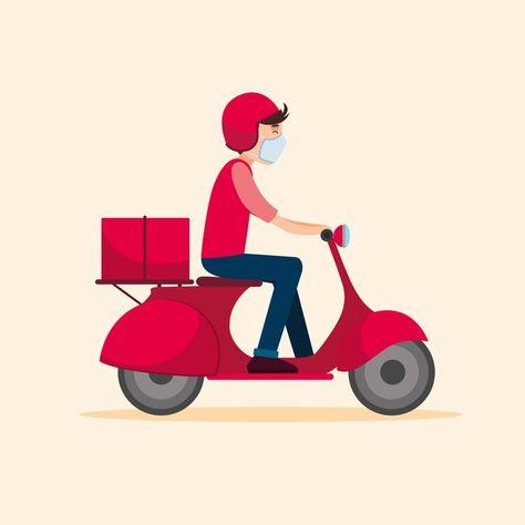 Delivery Service With Masks Illustration