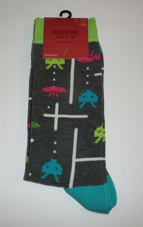 Space Invader Mossimo 1 Pair Men's Crew Socks Classic Atari Video Game Grey  #Mossimo #CrewSocks