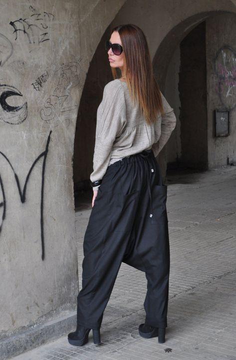 a0a37ee77d12 100% Linen Harem Pants   Loose Maxi Pants   Extravagant Black