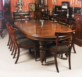 Antique Victorian Oval Dining Table Circa 1860 8 Bar Back Dining