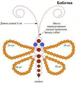 Схема плетения бабочки из бисера для начинающих  250117b4daf05