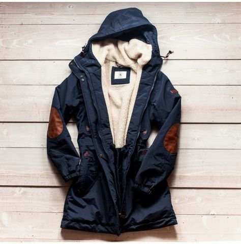 Navy Coat with Elbow Patches