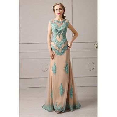 Homecoming Formal Evening Dress A-line Jewel Floor-length Lace/Tulle Dress – USD $ 179.99