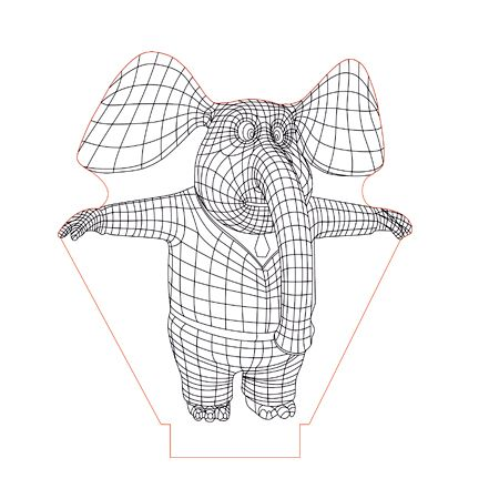 Mr Elephant 3d Illusion Lamp Plan Vector File For Laser And Cnc 3bee Studio 3d Illusions 3d Illusion Lamp Illusions