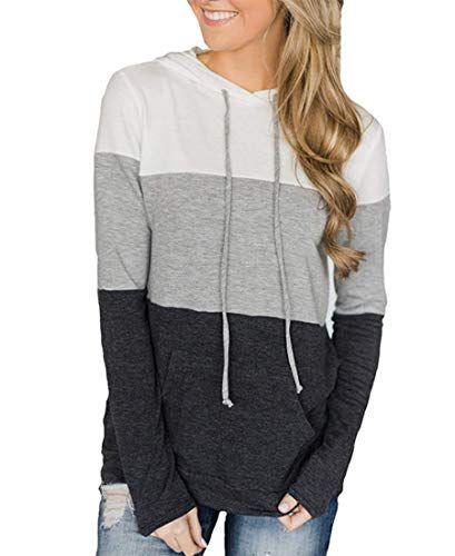Women Long Sleeve Top Blouse Jumper Hoodie Sweats Sweatshirt Pullover  Pocket