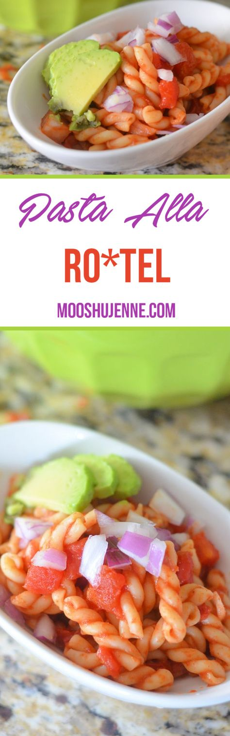 Gemelli pasta topped with RO*TEL along with red onions and avocado.