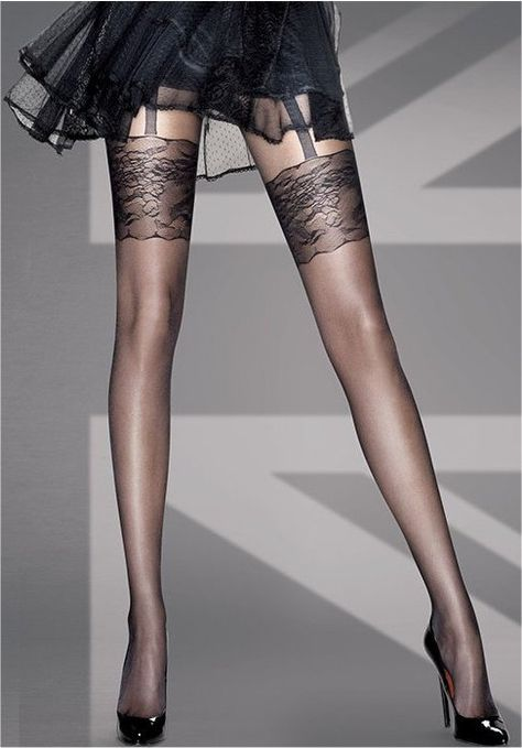 Lace tops on stockings...on legs that look thinner than a Barbie doll's!