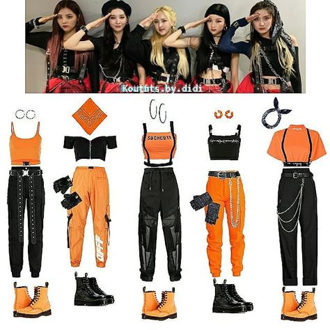 """kpop inspired outfits on Instagram: """"#qotd wich outfit is your fav? 🍂 Bvndit Come and get it inspired outfits 🍂 #bvndit #밴디트 #beambitiousndoit #mnhentertainment #yiyeon…"""""""