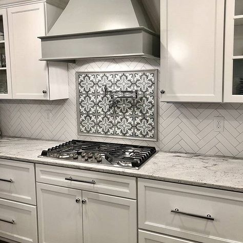 Now that's what we call a backsplash! 🙌🏼 Incredible work by @splashshowrooms & @beyond_gray featuring our Florence 4 pattern ❤️  •••  #repost from @beyond_gray -  Cement tile for the win. 🙌🏻@splashshowrooms @lilicementtiles @emtek_products .  .  #kitchensofinstagram #kitchendesign #kitchenhood #cementtile #lilicementtiles #potfiller #whitekitchen #graykitchen #granite #herringbone #herringbonetile #herringbonebacksplash #kitchenbacksplash #backsplash #riverwhitegranite #emtek #interiordesign