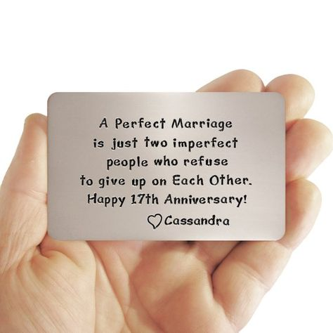 Wallet Insert Card, 17th Anniversary , Gift Idea For Him, Love Reminder, Personalized , Creative Gif