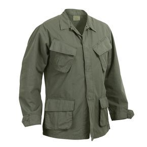 Fatigues Army Navy stocks the Vintage Vietnam style Era Ripstop Jungle Jackets are a spec copy of the 1960's Military version. They are made with the slant pocket front of washed out ripstop cotton for that authentic feel and look.