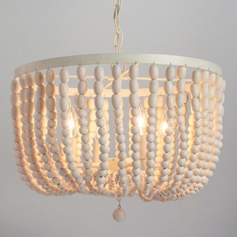 Antique Whitewash Wood Bead Chandelier by World Market. Made of hundreds of whitewashed round wood beads. Boho Style perfect for any room. Wood Bead Chandelier, Chandelier Bedroom, Chandelier Lighting, Pendant Lamp, Chandeliers, White Chandelier, How To Make A Chandelier, Lantern Chandelier, Antique Chandelier