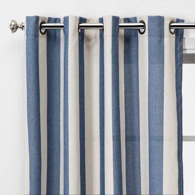 84 X54 Cabana Stripe Light Filtering Curtain Cream Navy