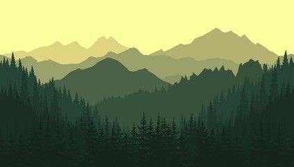 Green Mountain Landscape In The Summer Vector Seamless Background Berglandschaft Monochromatische Kunst Bergbilder