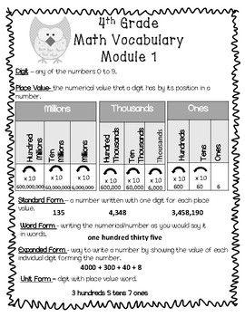 4th Grade Math Vocabulary Module 1 | AWESOME Fourth Grade