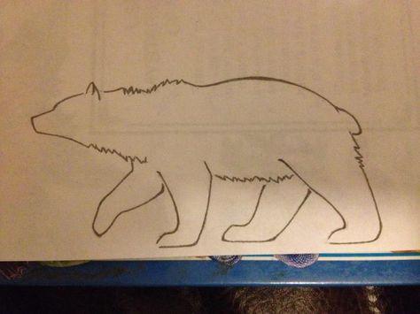 Black Outline Bear Tattoo Stencil By Kennie