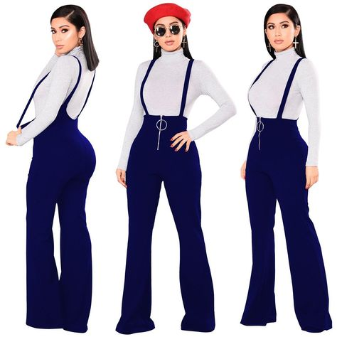 Jumpsuits Wjustforu Backless Spaghetti Strap Casual Jumpsuits Female Wide Leg Pants Spring Winter Sexy Overalls Rompers Womens Jumpsuit