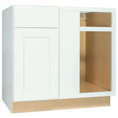 Shaker Assembled 36x34 5x24 In Blind Base Corner Kitchen Cabinet In Satin White Corner Kitchen Cabinet Corner Base Cabinet Cabinet