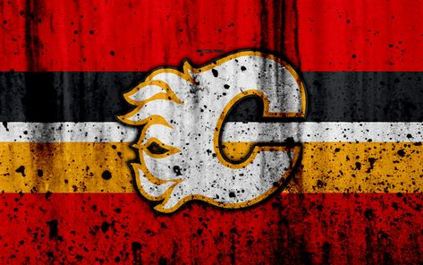 Download wallpapers 4k, Calgary Flames, grunge, NHL, hockey, art, Western Conference, USA, logo, stone texture, Pacific Division