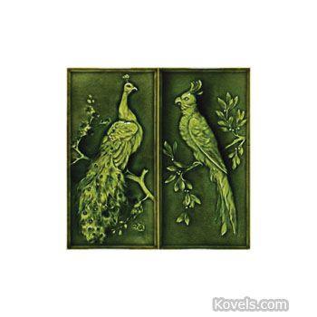 American Encaustic Tiling Company Tile, Pattern: Peacock, Parrot, Iridescent Green High Glaze, Description: 11 1/2 x 6 In., Pair.