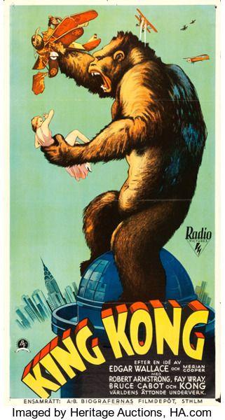 Movie Posters Horror King Kong Rko 1933 Swedish Oversized Poster 25 5 X 47 Old Movie Posters King Kong Movie Movie Posters Vintage