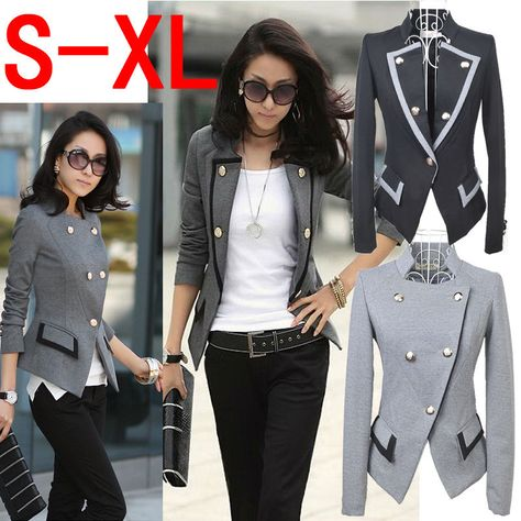 New Fashion 2014 Spring Korean Female Suit Jacket Women Double Breasted Short Coat Office Ladies Blazer Black/Grey      YYW6509# US $10.20 - 12.20