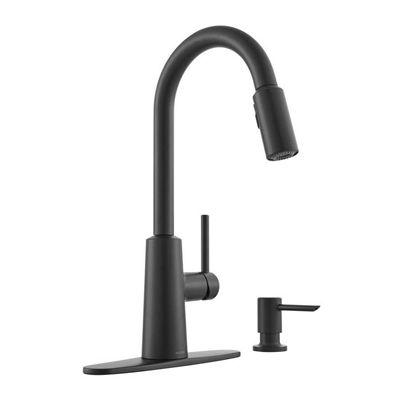 Moen Kitchen Faucet 87066BL Nori Matte Black 1-Handle Pull ...
