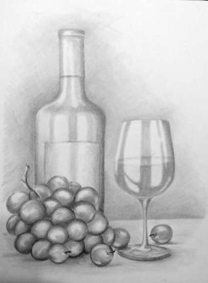 Wine bottle, glass and grapes | luv2draw com | Still life