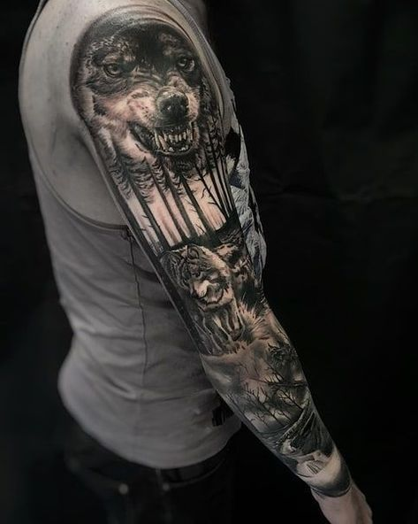 Sleeve Tattoos for Men | Wolf Tattoo Ideas | Sleeve Wolf Tattoo