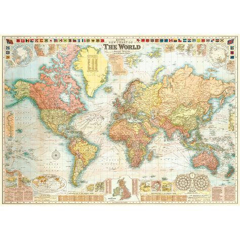 New Detailed World Map Vintage Style Poster College Is Fun Decor