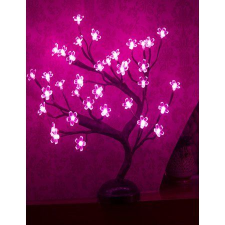Lightshare Cherry Blossom 16 Table Lamp Powered By Batteries Or Plug In Included Built In Timer Walmart Com Christmas Night Light Cherry Blossom Decor Fairy Lights In Trees